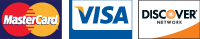 Visa, Mastercard, and Discover payment options